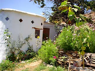 View of House and Garden at Llano de Manzano in Spain's Sierra Nevada