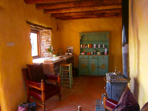 The Sitting Room / Kitchenette of the ecological retreat accommoation